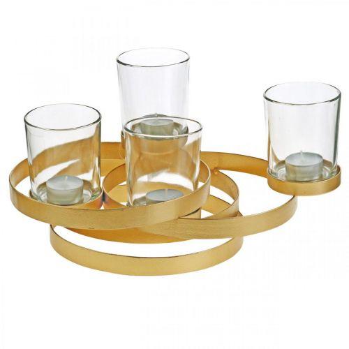 Advent kandelaar metaal rond goud met 4 glazen 34×26×18cm