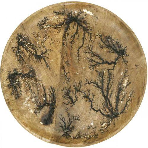 Decoratief bord hout natuur, goud craquelé effect mangohout Ø30