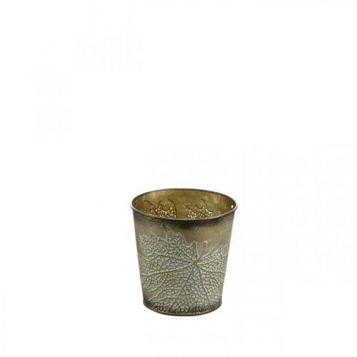 Planter voor de herfst, metalen pot met bladdecoratie, gouden plantenbak Ø10cm H10cm