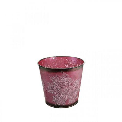 Sierpot om op te planten, metalen emmer, metalen decoratie met bladpatroon wijnrood Ø14cm H12.5cm
