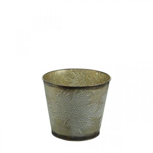 Planter voor de herfst, metalen emmer met bladdecoratie, gouden metalen schaal Ø14cm H12.5cm