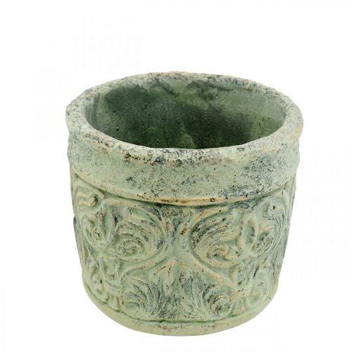 Bloempot antiek look groen, goud bloempot beton Ø9.5cm H10.5cm