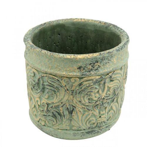 Sierpot antiek look groen, goud Betonnen pot Ø11cm H12.5cm