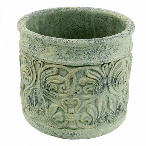 Antiek look groen, gouden bloempot beton Ø13.5cm H14.5cm