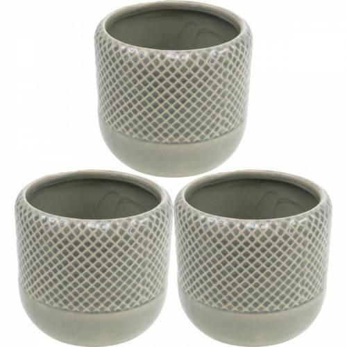 Plantenbak van keramiek, pot met gevlochten patroon, pot van keramiek Ø13cm 3st