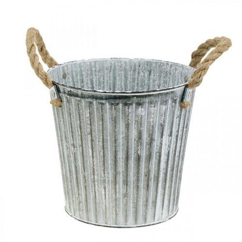 Decoratieve pot om te planten, metalen pot met handvatten, metalen decoratie Shabby Chic Ø21,5cm