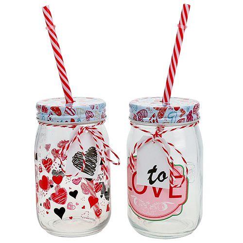 Drinkglas met deksel en rietje H13.5cm 2st