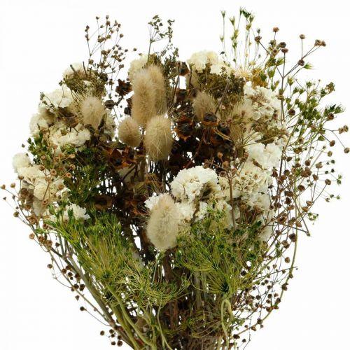 Boeket droogbloemen met weidegras wit, groen, bruin 125g droogbloemen