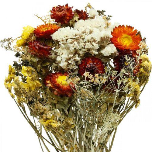 Gedroogd bloemboeket Eeuwige bloemen en lamsoor 125g droogbloemen