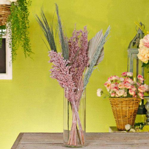 Gedroogde bloemen exotisch wit-roze mix droogboeket set