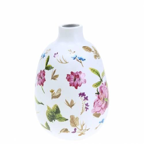 Decoratieve vaas witte bloemen Ø9cm H13.8cm