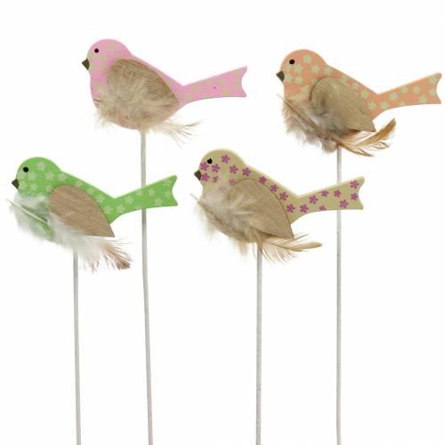 Decoratieve plug vogel hout groen, roze, geel, oranje assorti 7cm x 4cm H24cm 16st