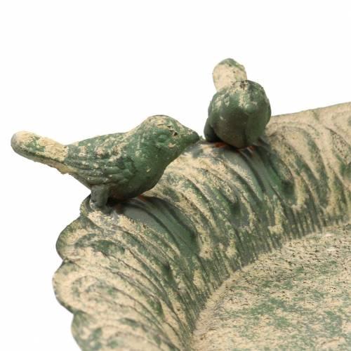 Vogelbad op metalen voet antiek mosgroen beige Ø28.3cm H26.5cm