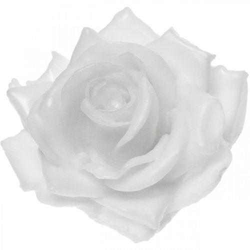 Wax roos wit Ø10cm Gewaxte kunstbloem 6st