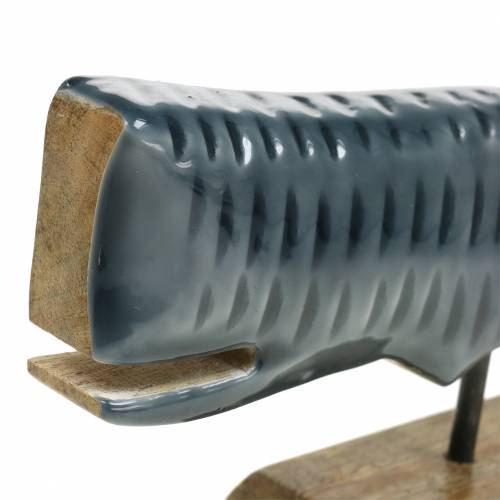 Houten sierwalvis met grijze basis, naturel 26cm