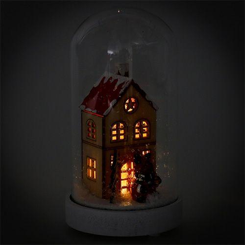 Kerstdecoratiehuis met glazen bel Ø9cm H16.5cm