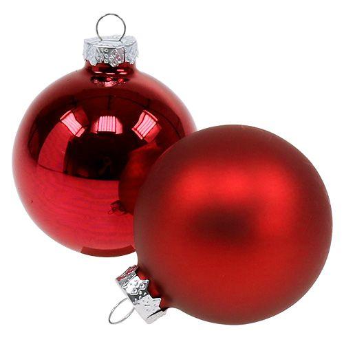 Kerstbalglas Ø6cm rood mix 24st