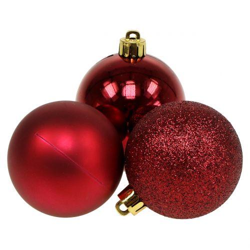 Kerstbal robijnrood mix Ø6cm 10st