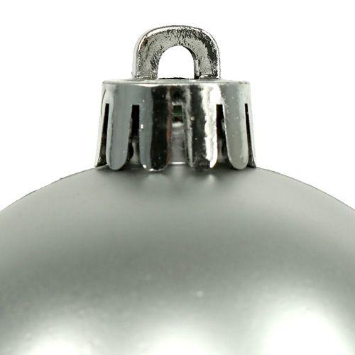 Kerstbal kunststof Ø6cm zilver mix 12st