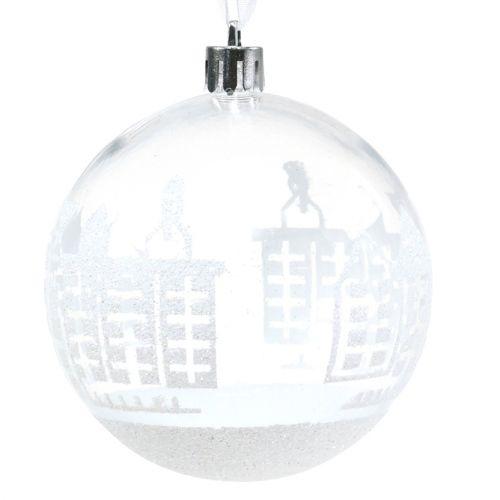 Kerstbal kunststof wit, transparant Ø8cm 2st