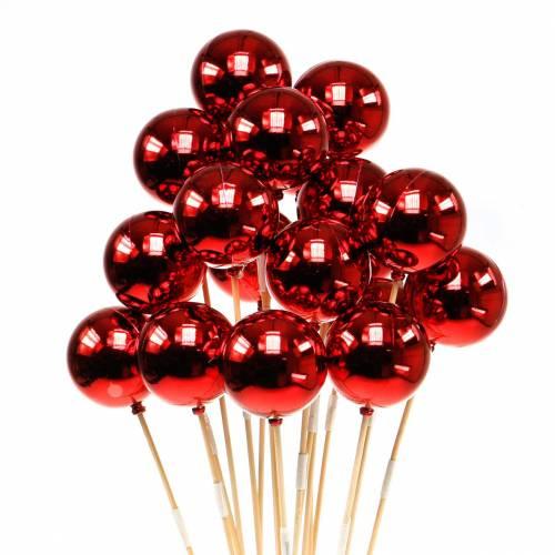 Kerstbal op stok Ø6cm rood 18st