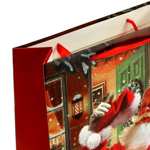 Geschenktas met kerstman 24 cm x 18 cm x 8 cm