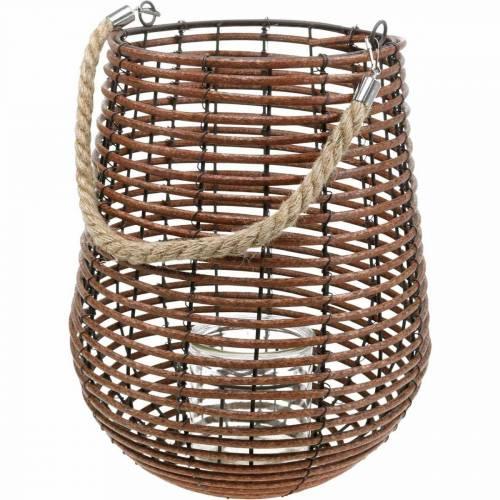 Kaars in een mand, lantaarn met handvat, kaarsversiering, mandlantaarn Ø24cm H34cm