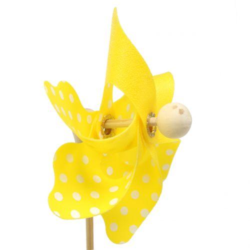 Mini molen met stippen geel Ø8cm 12st
