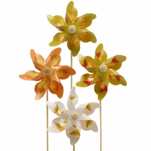 Decoratieve molens met herfstbladmotief oranje / wit / groen L27,5 Ø22cm 12st