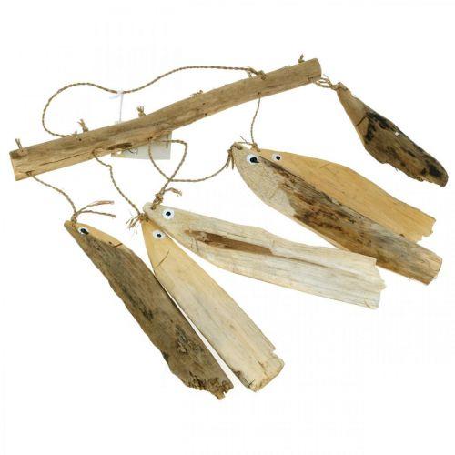 Maritieme visdecoratie, drijfhout windgong, houtdecoratie L50cm B30cm