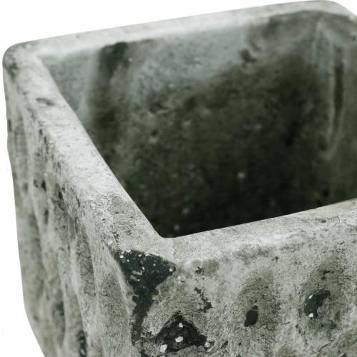 Bloempot, keramiek vat, tafeldecoratie antieke optiek H8cm 4st