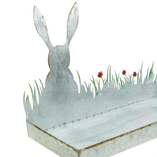 Zinkkom lente weide met paashaas 35cm x 16cm H24cm