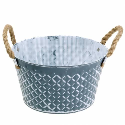 Zinken kom diamant met touw handvatten blauw-grijs Ø25cm H14cm