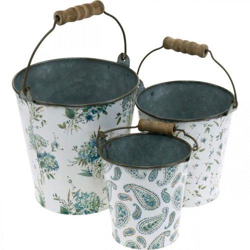 Lentedecoratie, metalen emmer, plantenemmer bloemenpatroon, metalen decoratie H15 / 11 / 9.5cm set van 3