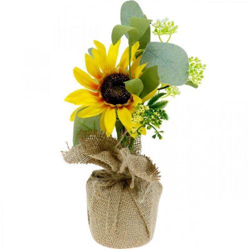 Kunstzonnebloem, zijden bloem, zomerdecoratie, zonnebloem in een jutezak