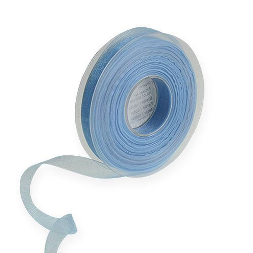 Organza lint in blauw 15mm 50m