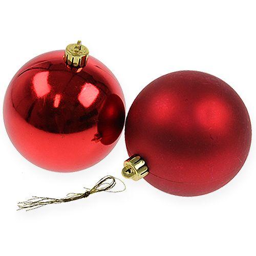 Kerstbal rood 10cm 4st