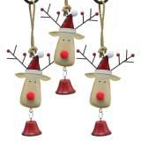 Kersthanger elandhoofd met bel 11,5 cm rood, beige 3st