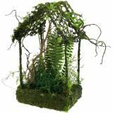 Mosdecoratie grashuis huis met kunstmos en varen