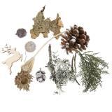 Droog bloemenhandwerkset adventskegels en mos wit gewassen 150g