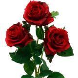 Rode roos kunstrozen zijden bloemen 3st
