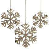 Sneeuwvlok goud om op te hangen Ø8cm - Ø12cm 9st
