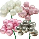 Mini kerstbal op draad 40mm roze, zilver, wit 36st