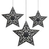 Kerstster met ornamenten zilvergrijs assorti 8cm - 12cm 9st