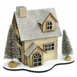 Kersthuisje met ledverlichting natuur, glitterhout 20 × 17 × 15cm