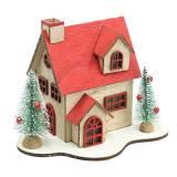 Kersthuisje met LED verlichting naturel, rood hout 20 × 17 × 15 cm