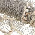 Visnet met schelpen en drijfhout 135cm