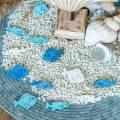 Scatter decoratie vis hout wit, blauw, lichtblauw 4cm 72st