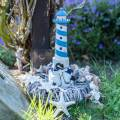 Maritieme decoratie vuurtoren lichtblauw 34cm